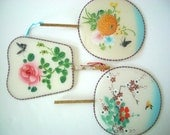 Vintage Chinese Silk Screen Painted Fans Set of 3