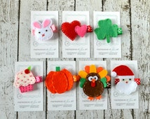 A Year of Holiday Felt Hair Clips - A perfect birthday present, baby shower gift, starter collection