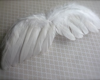 FEATHER ANGEL WING,  Med , 8 inches width, true white / 602