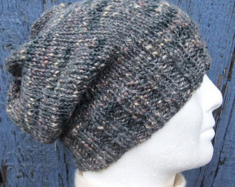 Beanie Knitting Pattern Straight Needles : Popular items for handknit slouch hat on Etsy