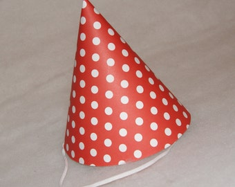 NEW Simple Birthday Party Hat - Red Polka Dot