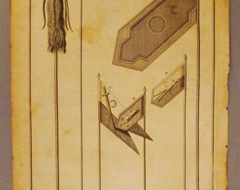 ANTIQUE OTTOMAN TURKISH War Banners Flags Original steel Engraving 1700s 14 1/4 x 9 3/4 in Ready to frame
