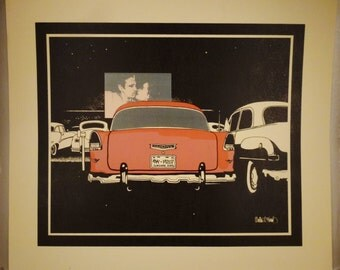 Original ART Print 1955 Red CHEVROLET  at Drive In Litho  and SILKSCREEN Signed on print  30 in by 26 inches