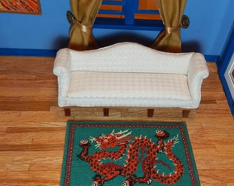 Dollhouse MIniature Hand Stitched Dragon Area Rug