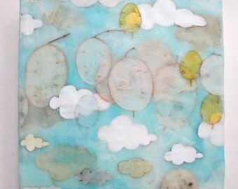 Blue Sky and Cloud Painting Encaustic, encaustic wax painting, clouds, skies, home decor