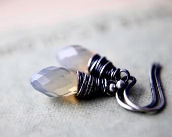Opal Crystal, Drop Earrings, Crystal Earrings, October Birthstone, Opal Jewelry, Opal Earrings, Swarovski Crystal, Wire Wrapped, PoleStar