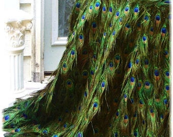 "Rush Order - Peacock Feather Tablecloth with EXTRA FLOOR INCHES - 24""-60"" Table Diameter - Custom Created for You!"
