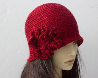 Flower Cloche,  Custom Hat, Choose Color, Flapper Hat,  Hand Crocheted 1920s Style Cloche Hat, Vegan Hat