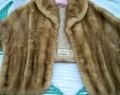 Vintage Autumn Haze Natural Brown Mink Fur Stole Wrap Emba Label