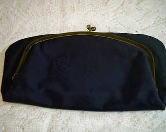 Vintage 1940s Navy Corded Evening Bag Clutch Purse