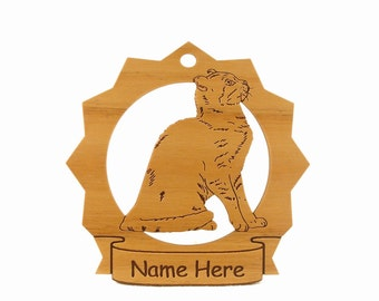 American Curl Cat Wood Ornament 087026 Personalized With Your Cat's Name - Free Shipping