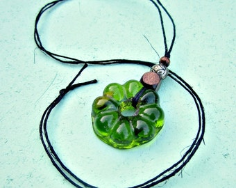 Green Glass Flower Pendant with Wood Beads on Black Hemp No Clasp Cord Necklace: Meadow WAS 14.00