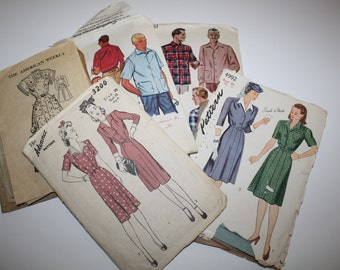 1940-1950 , 5 Vintage Pattern Lot, must have for Pattern maker,student, Fashion Designer,WWII Swing Era, Mad Men Era, with missing pieces