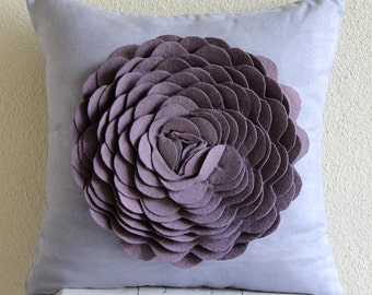 Decorative Throw Pillow Covers Accent Pillow Couch Sofa Pillow 16x16 Suede Pillow Cover Felt Embroidered Purple Rose Home Living Pillow Case