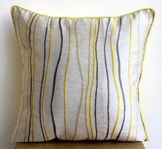 Yellow Decorative Pillows For Sofa : Yellow Throw Pillows Cover For Couch 16x16 by TheHomeCentric