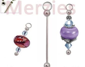 MERZIEs 51mm interchangeable silver ADD A BEAD CHANGEABLE charm bead removable end holders - Combined Shipping