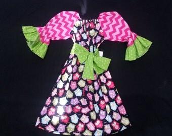 Girls Peasant Dress, Owl Dress, Infant Toddler Girl Dress,  Belted Dress, Bell Sleeve Dress, Girls Boutique Dress, Handmade by Groovy Gurlz