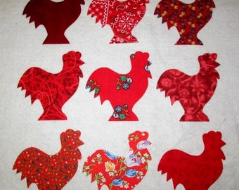 Set of 9 Red Rooster Chicken Iron On Fabric Appliques