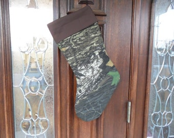 Mossy Oak camo w/ brown  Christmas stocking