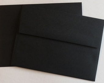 PPE48  Qty of 50 A6 70 lb. Black Paper Envelopes 4 3/4 x 6 1/2 (12.07cm x 16.51cm)