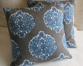 MADRAS SEASIDE blue/ white on gray Pillows 18x18 inserts included
