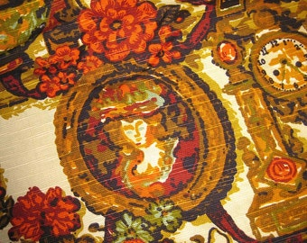 Vintage Fabric Historical Print - Early American Colonial Upholstery Fabric - Harvest Gold Orange Olive