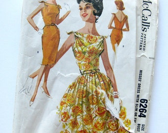 Vintage 1960s Sewing Pattern - Bateau Neckline Party Dress - Slim or Full Skirt -  McCall's 6264 / Size 12