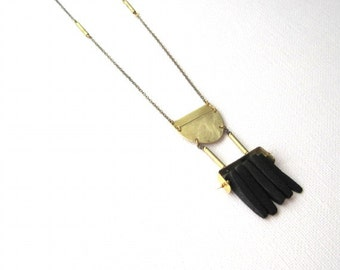 Primal Black Coconut Shell Dagger Necklace