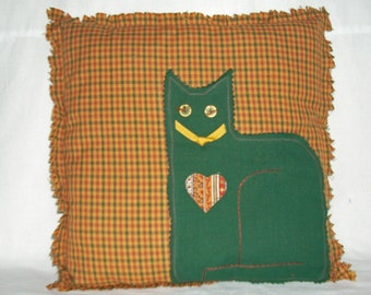 PILLOW--Cat Appliqued in Green