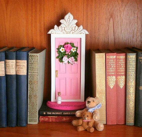 Fairy door or tooth fairy door made of wood in soft pink for Tooth fairy door