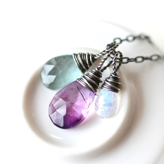 Wire Wrapped Trio - Moss Amethyst Moss Aquamarine and Rainbow Moonstone Briolette Sterling Silver Necklace