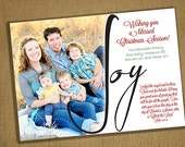 5x7 JOY Christmas Card Template - Photoshop - Instant download