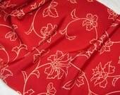 Vintage Japanese Kimono Silk Ornate Scrolling Flowers and Leaves 60ins