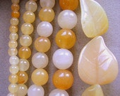 BEADS, Jade, Golden Honey Jade, 4,8,10mm, Smooth, Round, CARVED, Leaf, Strand, Yellow, Butterscotch