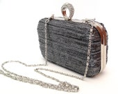 Box clutch purse / clamshell / minaudière - black and silver with silver frame