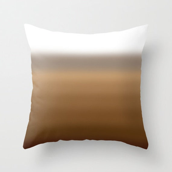 Brown and grey ombre throw pillow cover by bellesandghosts for Brown and gray throw pillows