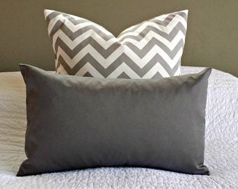 Solid Charcoal Grey Lumbar Pillow Cover