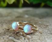 Hoop Earrings Gold White Opal Gemstone - Minimal Hoops, Opal Hoop Earrings, White Opal Earrings, Gemstone Hoops, Delicate Hoops, Opal Earrin