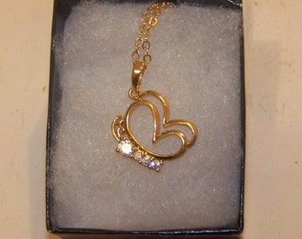 White Topaz  Stones Are Set In A 14K Gold Filled Butterfly Pendant