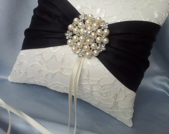 Ivory Black Ring Bearer Pillow Lace Ring Pillow Pearl Rhinestone Accent