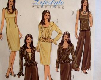 Butterick sewing pattern, jacket, top, dress and pants, Lifestyle wardrobe, size 8-10-12-14