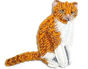 Beaded GINGER CAT bead embroidery keepsake art pin pendant jewelry (Made to Order)