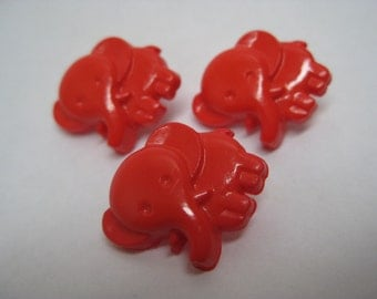 Elephant Red Buttons Vintage Plastic Three