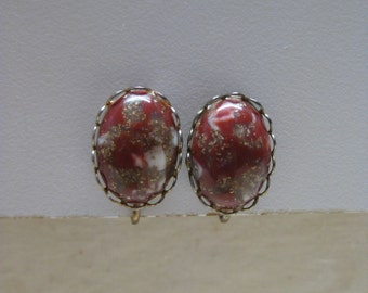 Red Orange Gold Cab Earrings Clip White Vintage