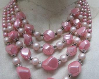 Pink Pearl Four Strand Necklace Vintage Japan