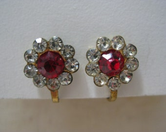 Flower Red Clear Rhinestone Earrings Screw Gold Vintage