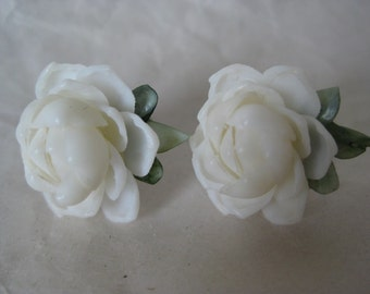 Rose Flower White Earrings Screw Shell Vintage Wedding