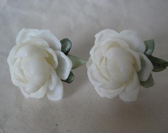 Rose Flower White Earrings Screw Shell Vintage Wedding