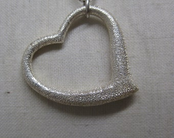 Heart Sterling Necklace Texture Vintage Pendant 925 Silver