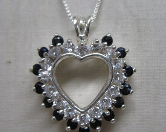 Sapphire Blue Heart Sterling CZ Necklace Vintage Pendant Clear 925 Silver